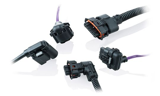 Dress covers in different outlet directions for various connectors and pin housings, e.g. from Bosch, TE, Hirschmann, Molex or Kostal.