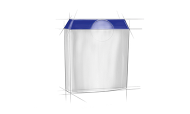 Pöppelmann development: Draft for a packaging with pre-assembled bottom compartment, hinged lid with temper-evident closure.