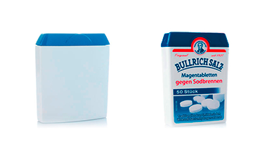 3D samples through rapid prototyping (left). Packaging with pre-assembled bottom compartment, hinged lid with tamper-evident closure (right).