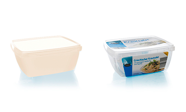 3D samples through rapid prototyping (left). Rectangular tray with tamper-evident closure (right).